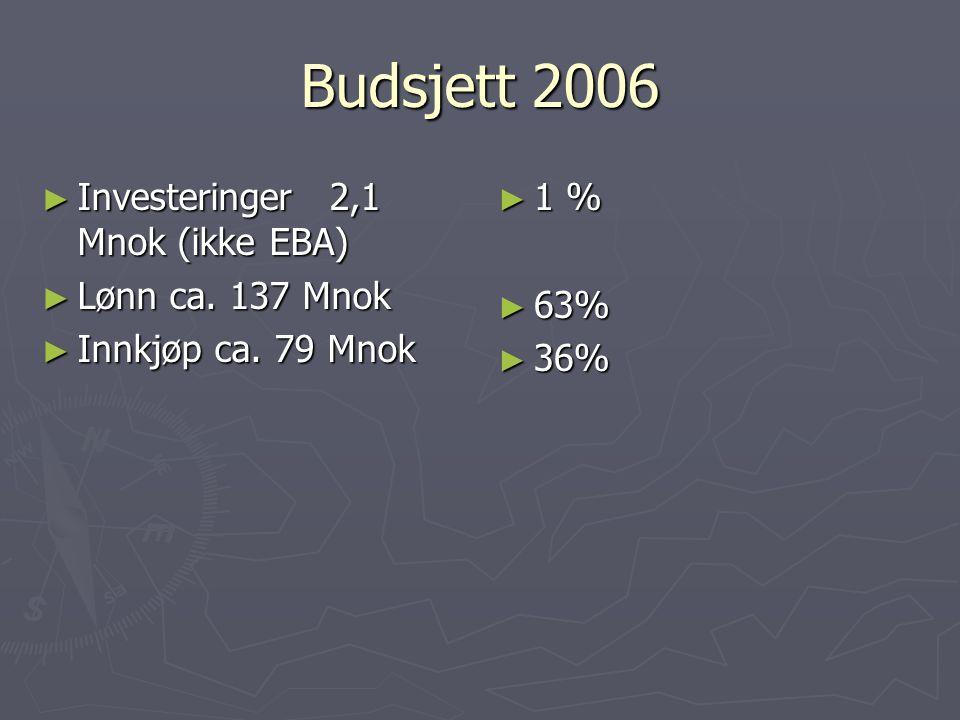 Budsjett 2006 ► Investeringer2,1 Mnok (ikke EBA) ► Lønn ca. 137 Mnok ► Innkjøp ca. 79 Mnok ► 1 % ► 63% ► 36%