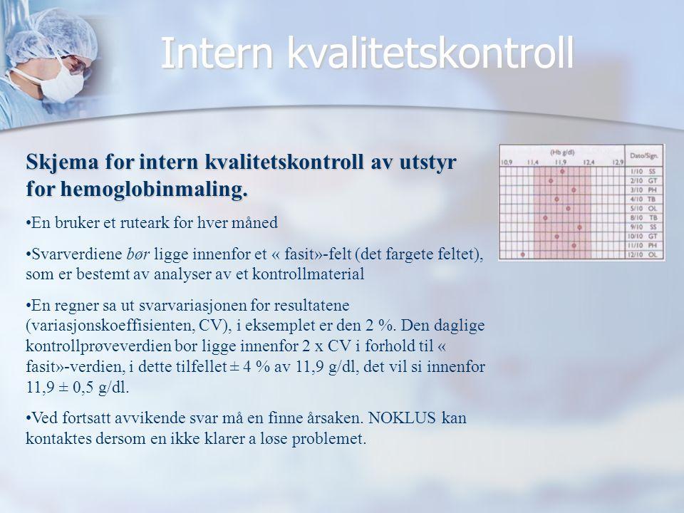 Intern kvalitetskontroll Skjema for intern kvalitetskontroll av utstyr for hemoglobinmaling. •En bruker et ruteark for hver måned •Svarverdiene bør li