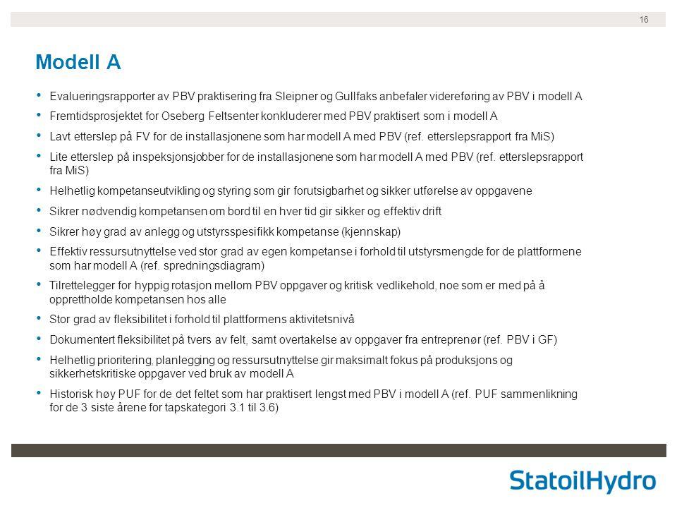16 Modell A • Evalueringsrapporter av PBV praktisering fra Sleipner og Gullfaks anbefaler videreføring av PBV i modell A • Fremtidsprosjektet for Oseb