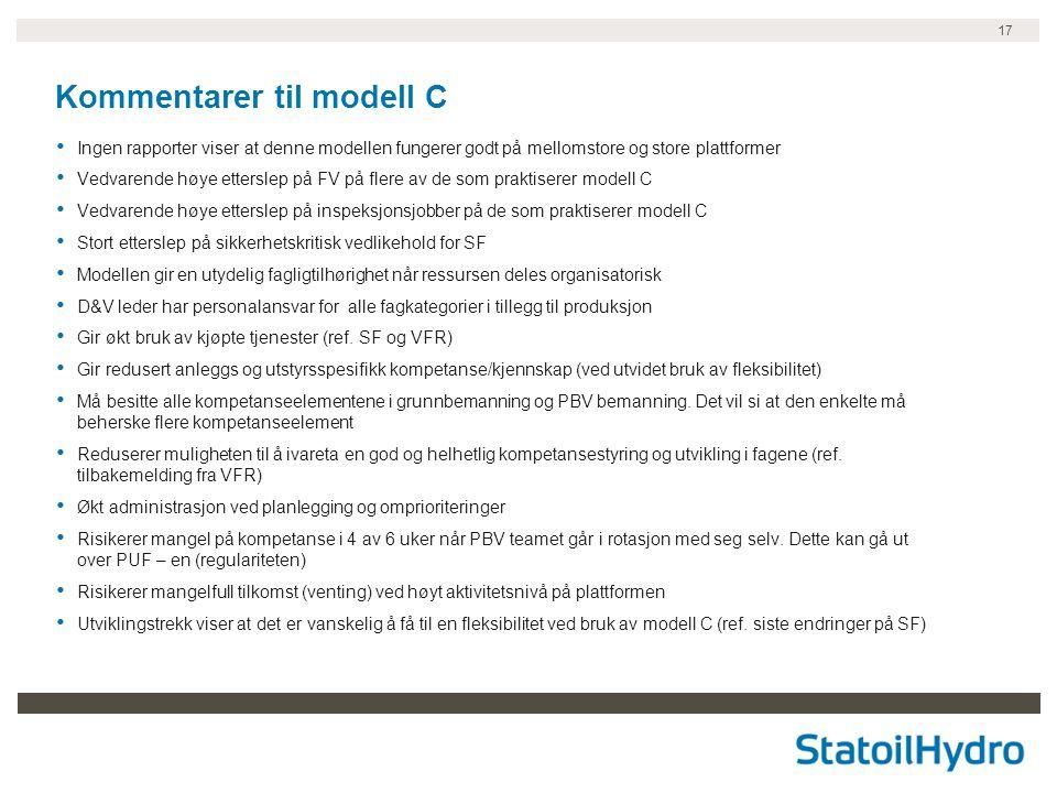 17 Kommentarer til modell C • Ingen rapporter viser at denne modellen fungerer godt på mellomstore og store plattformer • Vedvarende høye etterslep på