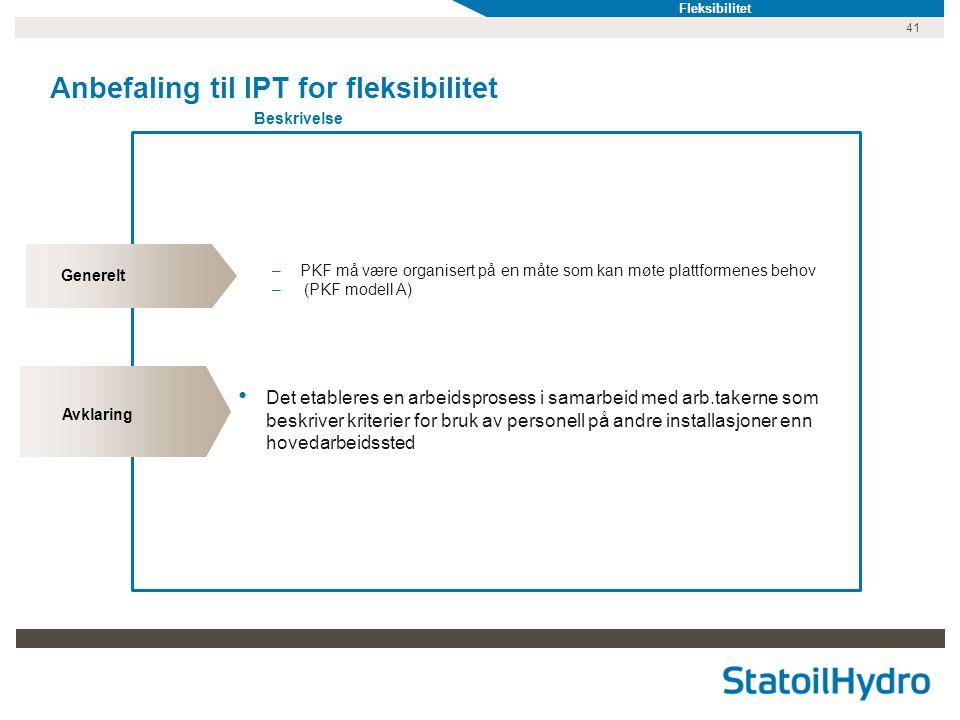 41 Anbefaling til IPT for fleksibilitet Beskrivelse Generelt Avklaring –PKF må være organisert på en måte som kan møte plattformenes behov – (PKF modell A) • Det etableres en arbeidsprosess i samarbeid med arb.takerne som beskriver kriterier for bruk av personell på andre installasjoner enn hovedarbeidssted Fleksibilitet