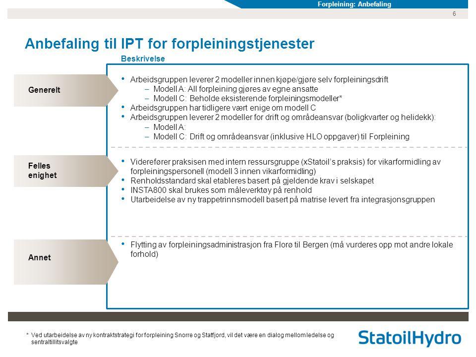 6 Anbefaling til IPT for forpleiningstjenester Beskrivelse Generelt Felles enighet Annet • Arbeidsgruppen leverer 2 modeller innen kjøpe/gjøre selv fo
