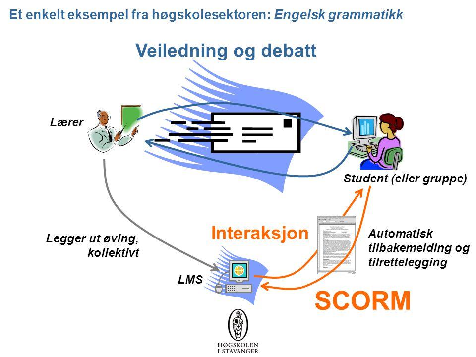 Et enkelt eksempel fra høgskolesektoren: Engelsk grammatikk Lærer LMS Legger ut øving, kollektivt Automatisk tilbakemelding og tilrettelegging Interaksjon Veiledning og debatt SCORM Student (eller gruppe)