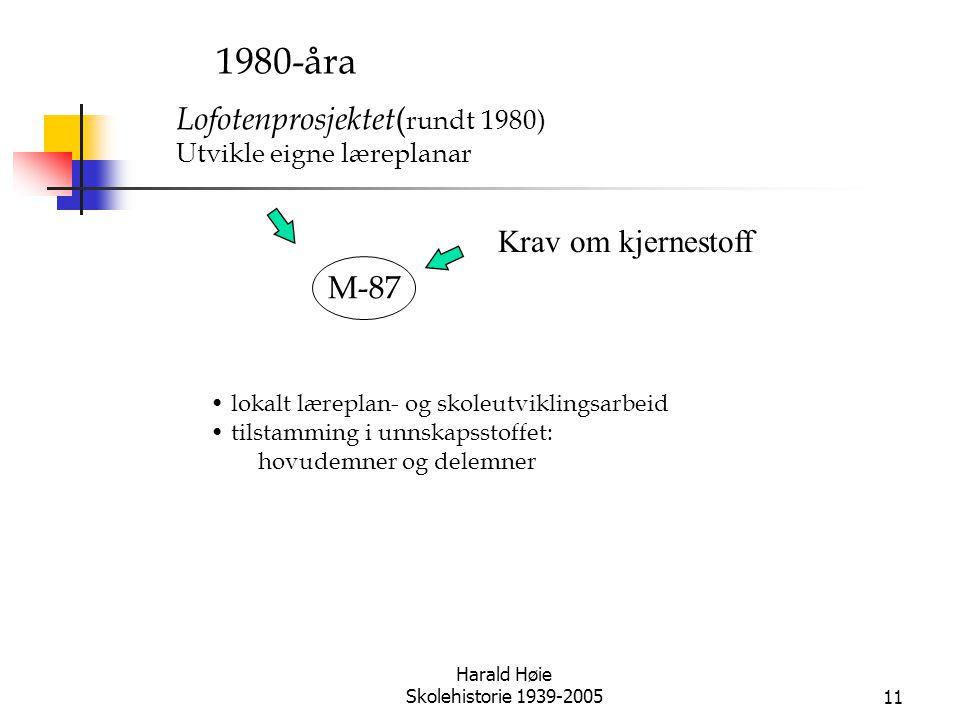 Harald Høie Skolehistorie 1939-200511 1980-åra • lokalt læreplan- og skoleutviklingsarbeid • tilstamming i unnskapsstoffet: hovudemner og delemner Lof