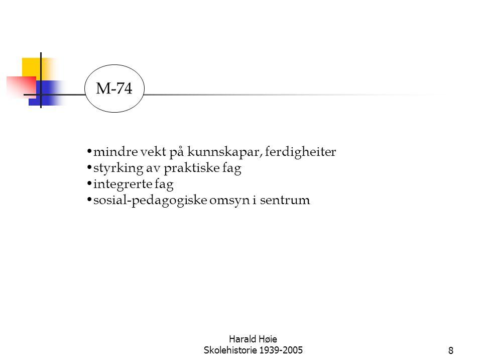 Harald Høie Skolehistorie 1939-20058 •mindre vekt på kunnskapar, ferdigheiter •styrking av praktiske fag •integrerte fag •sosial-pedagogiske omsyn i s