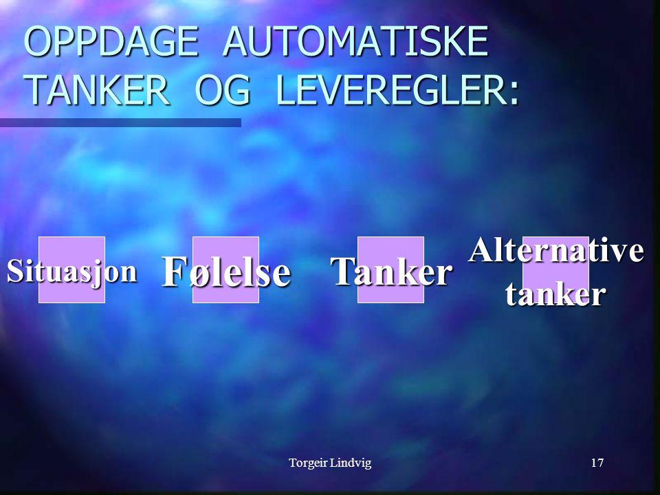 Torgeir Lindvig17 OPPDAGE AUTOMATISKE TANKER OG LEVEREGLER: SituasjonFølelseTankerAlternativetanker