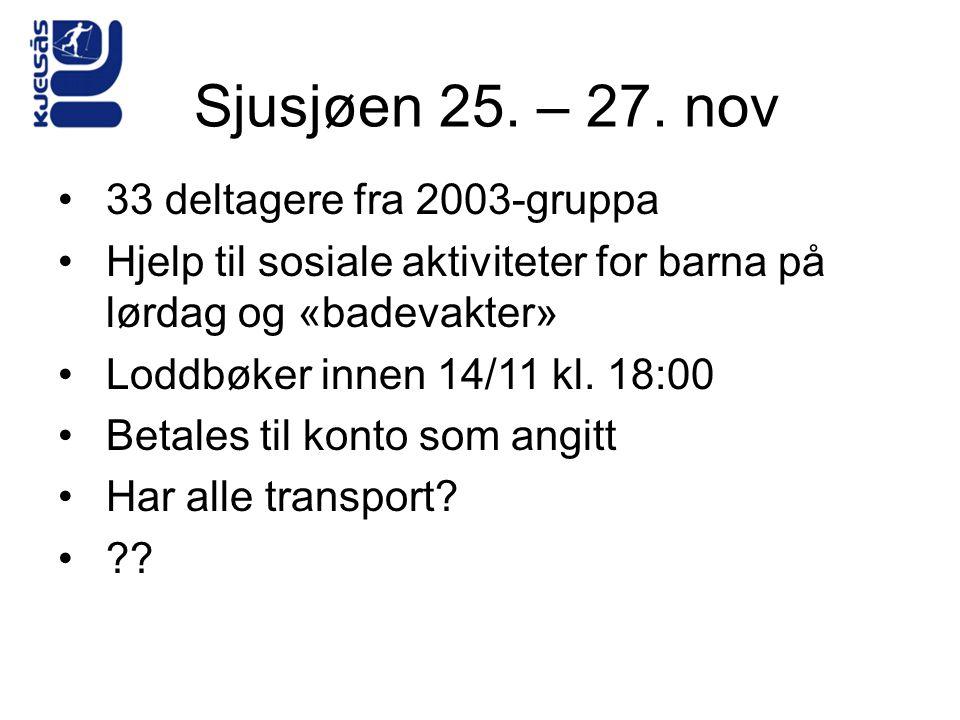 Sjusjøen 25. – 27. nov •33 deltagere fra 2003-gruppa •Hjelp til sosiale aktiviteter for barna på lørdag og «badevakter» •Loddbøker innen 14/11 kl. 18: