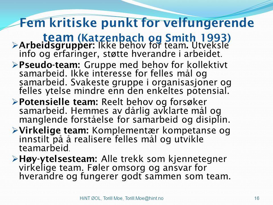 HiNT ØOL, Torill Moe, Torill.Moe@hint.no Teamprestasjonskurven (Katzenbach & Smith 1993:85) Jacbobsen & Thorsvik 2007:406 15