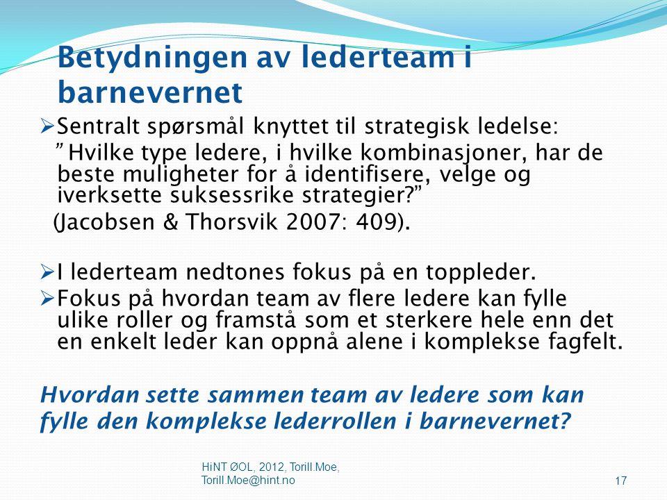  Arbeidsgrupper: Ikke behov for team.Utveksle info og erfaringer, støtte hverandre i arbeidet.