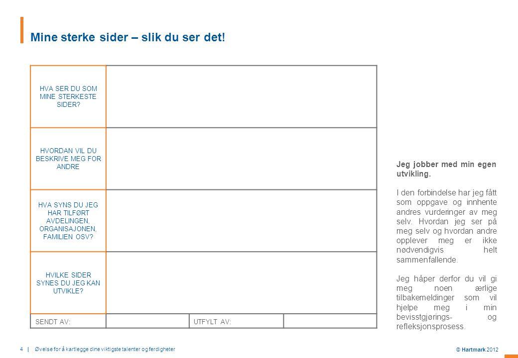 4   Øvelse for å kartlegge dine viktigste talenter og ferdigheter © Hartmark 2012 Mine sterke sider – slik du ser det.