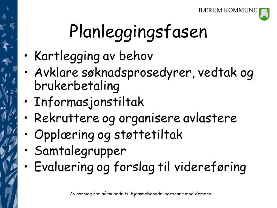 Avlastning for pårørende til hjemmeboende personer med demens Planleggingsfasen •Kartlegging av behov •Avklare søknadsprosedyrer, vedtak og brukerbeta