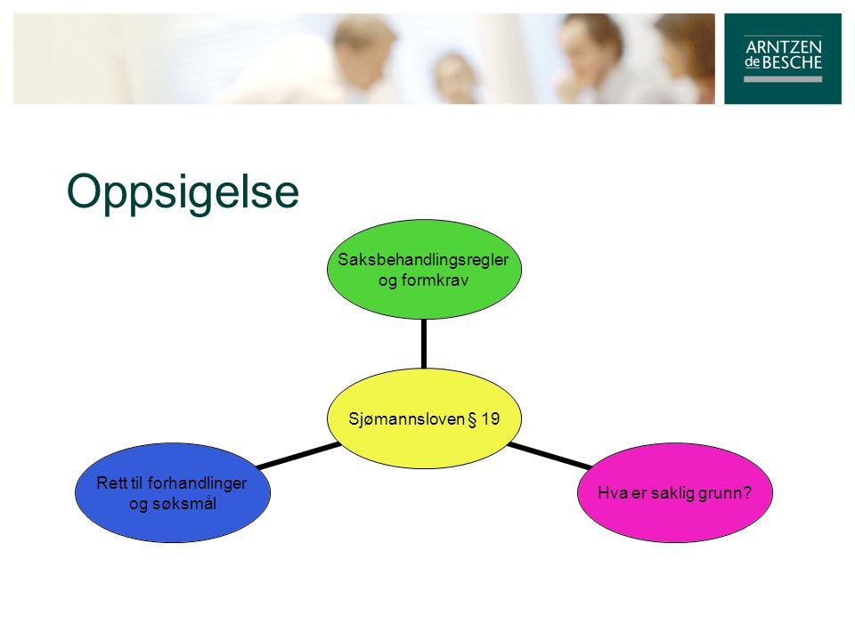 Oppsigelse Sjømannsloven § 19 Saksbehandlingsregler og formkrav Hva er saklig grunn? Rett til forhandlinger og søksmål