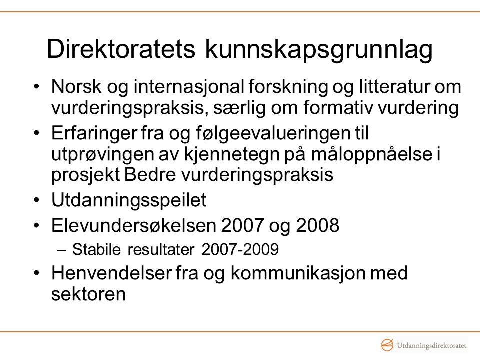 Direktoratets kunnskapsgrunnlag •Norsk og internasjonal forskning og litteratur om vurderingspraksis, særlig om formativ vurdering •Erfaringer fra og