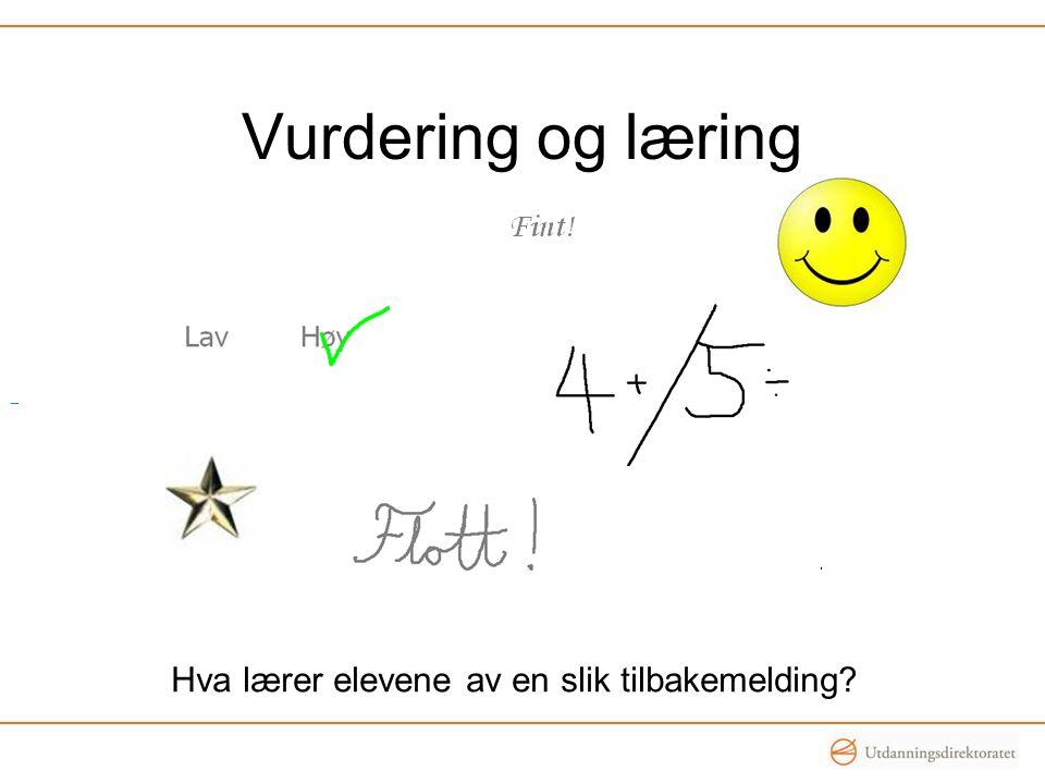 Vurdering og læring Hva lærer elevene av en slik tilbakemelding?