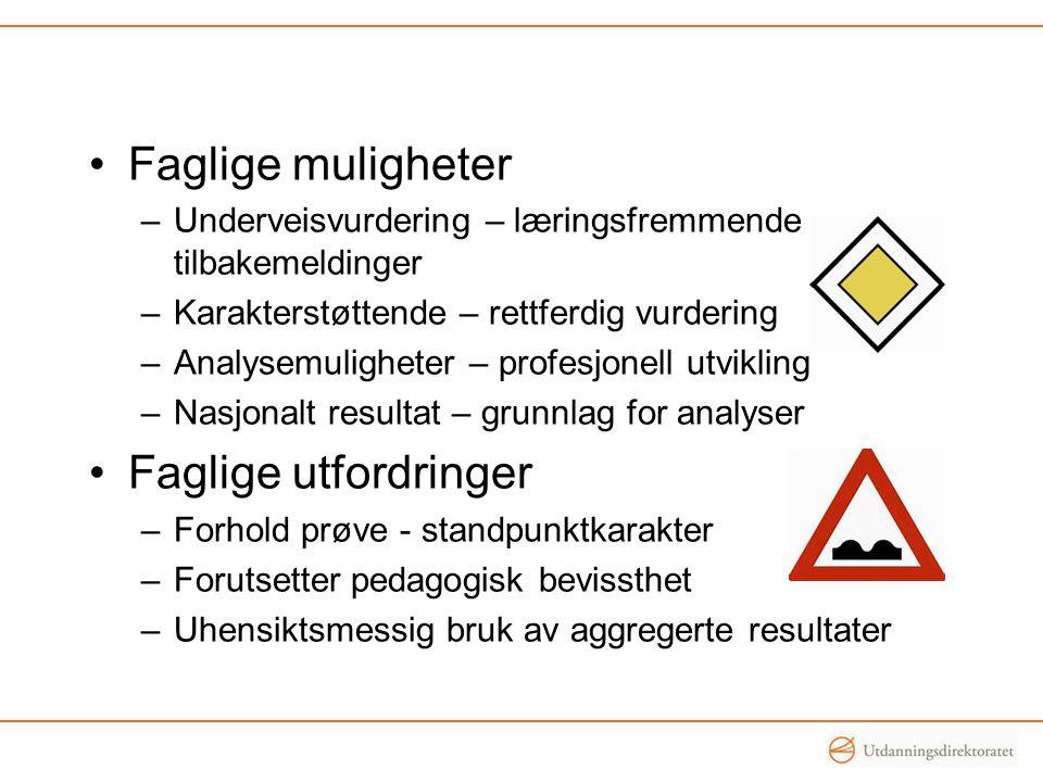 •Faglige muligheter –Underveisvurdering – læringsfremmende tilbakemeldinger –Karakterstøttende – rettferdig vurdering –Analysemuligheter – profesjonel
