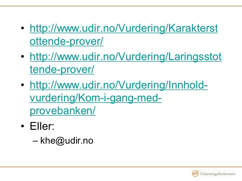 •http://www.udir.no/Vurdering/Karakterst ottende-prover/http://www.udir.no/Vurdering/Karakterst ottende-prover/ •http://www.udir.no/Vurdering/Laringss