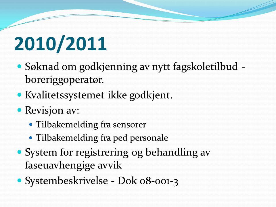 2010/2011  Søknad om godkjenning av nytt fagskoletilbud - boreriggoperatør.  Kvalitetssystemet ikke godkjent.  Revisjon av:  Tilbakemelding fra se