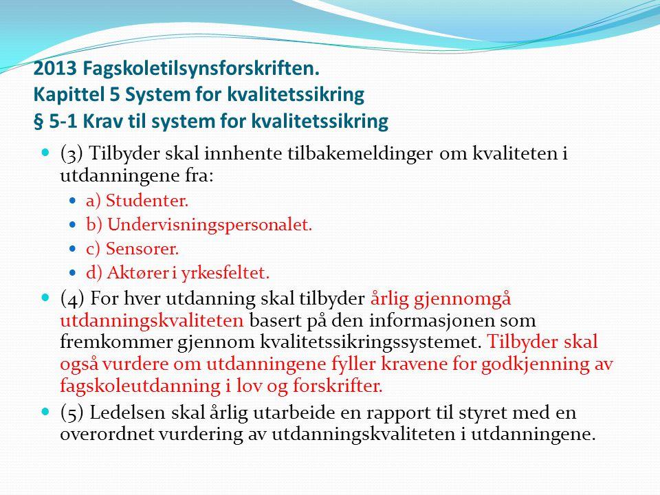 2013 Fagskoletilsynsforskriften. Kapittel 5 System for kvalitetssikring § 5-1 Krav til system for kvalitetssikring  (3) Tilbyder skal innhente tilbak
