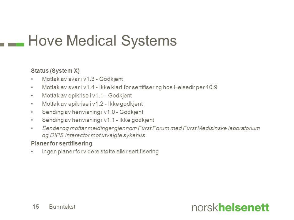 Hove Medical Systems Status (System X) •Mottak av svar i v1.3 - Godkjent •Mottak av svar i v1.4 - Ikke klart for sertifisering hos Helsedir per 10.9 •