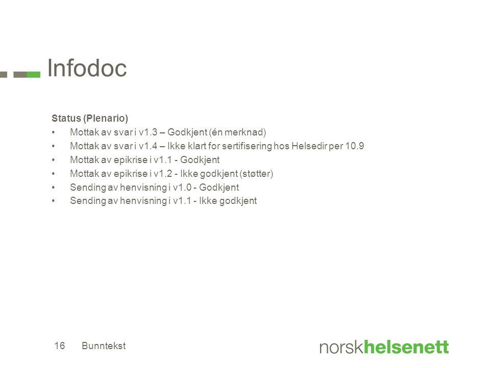 Infodoc Status (Plenario) •Mottak av svar i v1.3 – Godkjent (én merknad) •Mottak av svar i v1.4 – Ikke klart for sertifisering hos Helsedir per 10.9 •