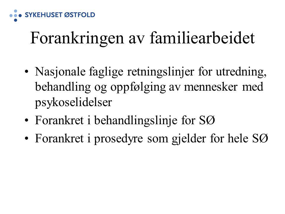Forankringen av familiearbeidet •Nasjonale faglige retningslinjer for utredning, behandling og oppfølging av mennesker med psykoselidelser •Forankret