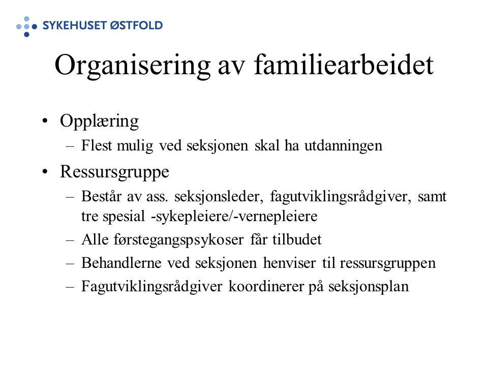 Organisering av familiearbeidet •Opplæring –Flest mulig ved seksjonen skal ha utdanningen •Ressursgruppe –Består av ass. seksjonsleder, fagutviklingsr