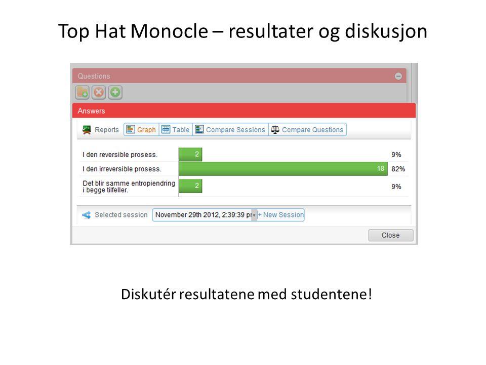 Top Hat Monocle – resultater og diskusjon Diskutér resultatene med studentene!