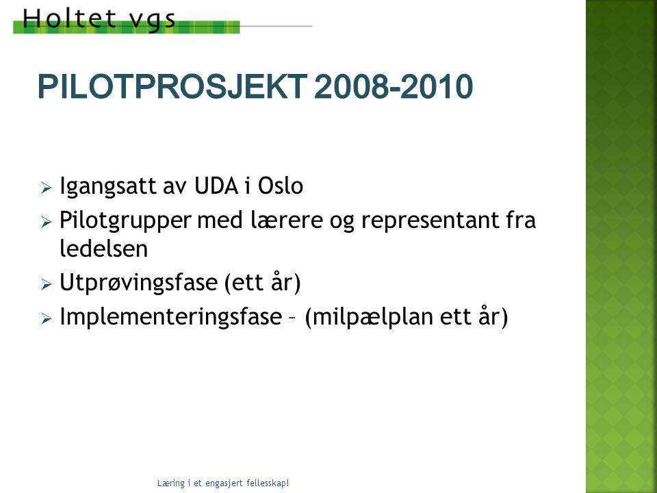  Igangsatt av UDA i Oslo  Pilotgrupper med lærere og representant fra ledelsen  Utprøvingsfase (ett år)  Implementeringsfase – (milpælplan ett år) Læring i et engasjert fellesskap!