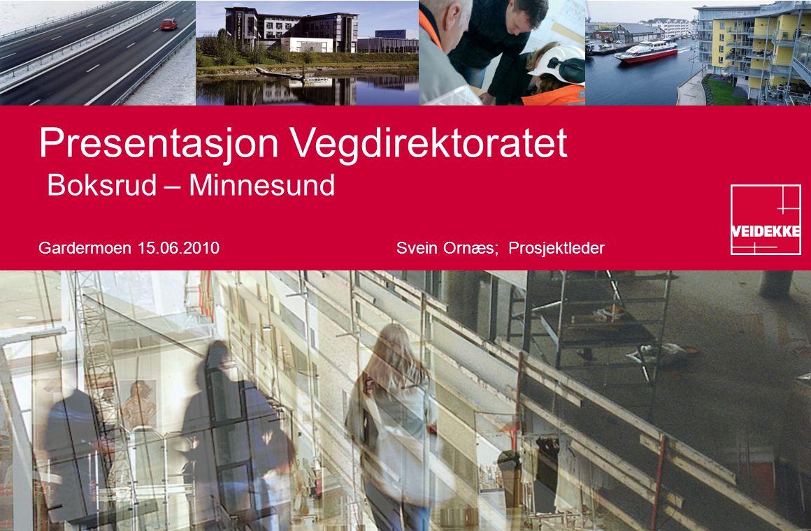 Presentasjon Vegdirektoratet Boksrud – Minnesund Gardermoen 15.06.2010Svein Ornæs; Prosjektleder