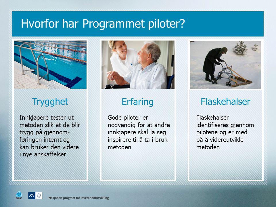 Hvorfor har Programmet piloter? Trygghet Erfaring Flaskehalser Innkjøpere tester ut metoden slik at de blir trygg på gjennom- føringen internt og kan