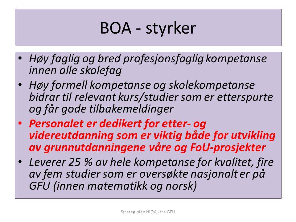 BOA - styrker • Høy faglig og bred profesjonsfaglig kompetanse innen alle skolefag • Høy formell kompetanse og skolekompetanse bidrar til relevant kur