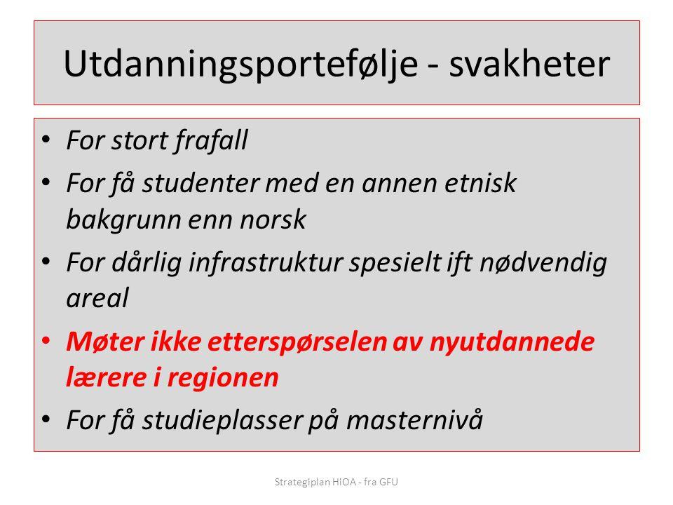 Utdanningsportefølje - svakheter • For stort frafall • For få studenter med en annen etnisk bakgrunn enn norsk • For dårlig infrastruktur spesielt ift
