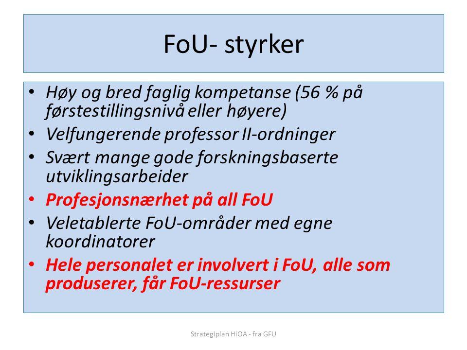 FoU- styrker • Høy og bred faglig kompetanse (56 % på førstestillingsnivå eller høyere) • Velfungerende professor II-ordninger • Svært mange gode forskningsbaserte utviklingsarbeider • Profesjonsnærhet på all FoU • Veletablerte FoU-områder med egne koordinatorer • Hele personalet er involvert i FoU, alle som produserer, får FoU-ressurser Strategiplan HiOA - fra GFU