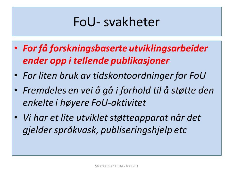FoU- svakheter • For få forskningsbaserte utviklingsarbeider ender opp i tellende publikasjoner • For liten bruk av tidskontoordninger for FoU • Fremdeles en vei å gå i forhold til å støtte den enkelte i høyere FoU-aktivitet • Vi har et lite utviklet støtteapparat når det gjelder språkvask, publiseringshjelp etc Strategiplan HiOA - fra GFU