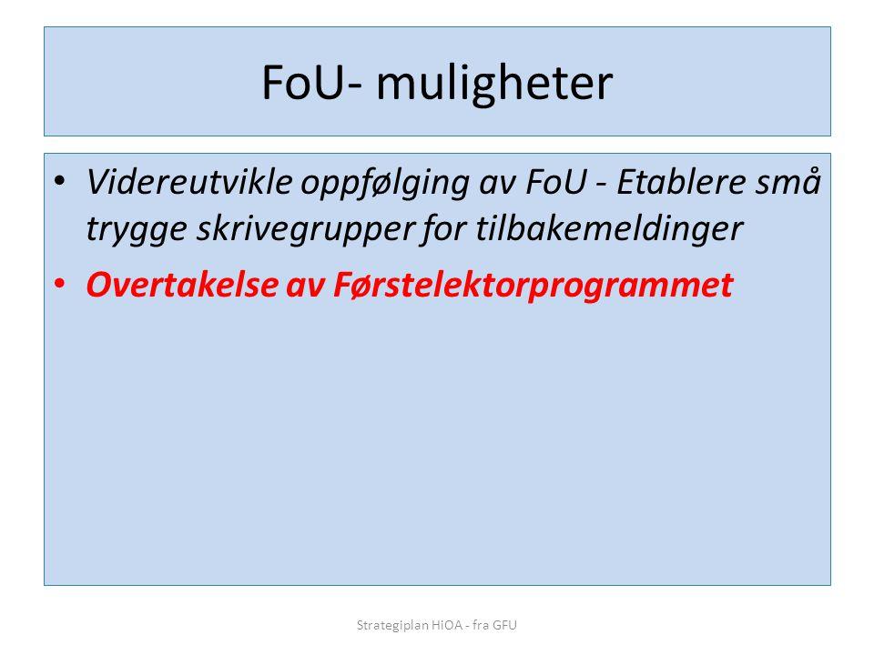 FoU- muligheter • Videreutvikle oppfølging av FoU - Etablere små trygge skrivegrupper for tilbakemeldinger • Overtakelse av Førstelektorprogrammet Str
