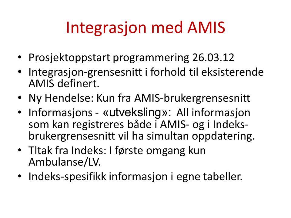 Integrasjon med AMIS • Prosjektoppstart programmering 26.03.12 • Integrasjon-grensesnitt i forhold til eksisterende AMIS definert. • Ny Hendelse: Kun