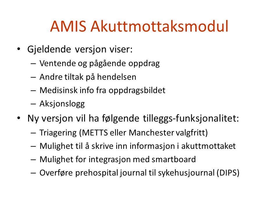 AMIS Akuttmottaksmodul • Gjeldende versjon viser: – Ventende og pågående oppdrag – Andre tiltak på hendelsen – Medisinsk info fra oppdragsbildet – Aks