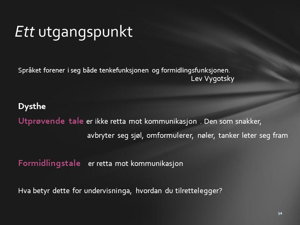 Ett utgangspunkt Språket forener i seg både tenkefunksjonen og formidlingsfunksjonen. Lev Vygotsky Dysthe Utprøvende tale er ikke retta mot kommunikas