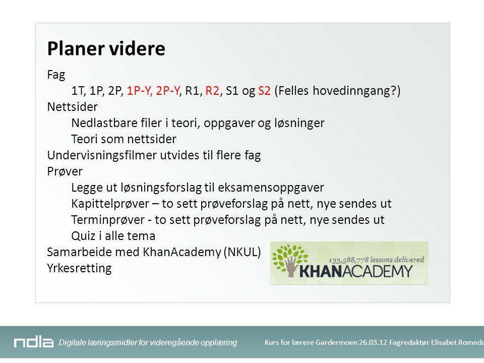 Digitale læringsmidler for videregående opplæring Kurs for lærere Gardermoen 26.03.12 Fagredaktør Elisabet Romedal Planer videre Fag 1T, 1P, 2P, 1P-Y,