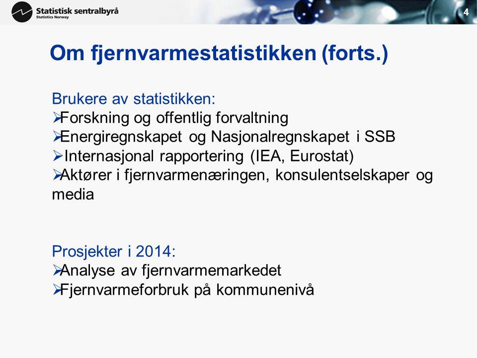 4 Brukere av statistikken:  Forskning og offentlig forvaltning  Energiregnskapet og Nasjonalregnskapet i SSB  Internasjonal rapportering (IEA, Euro
