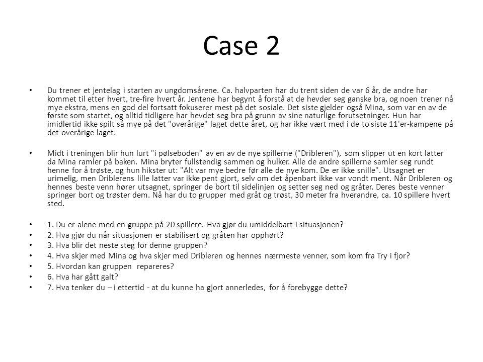 Case 2 • Du trener et jentelag i starten av ungdomsårene. Ca. halvparten har du trent siden de var 6 år, de andre har kommet til etter hvert, tre-fire