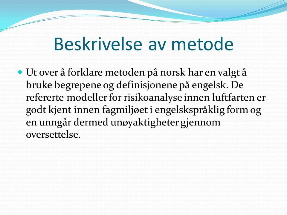 Beskrivelse av metode  Ut over å forklare metoden på norsk har en valgt å bruke begrepene og definisjonene på engelsk.
