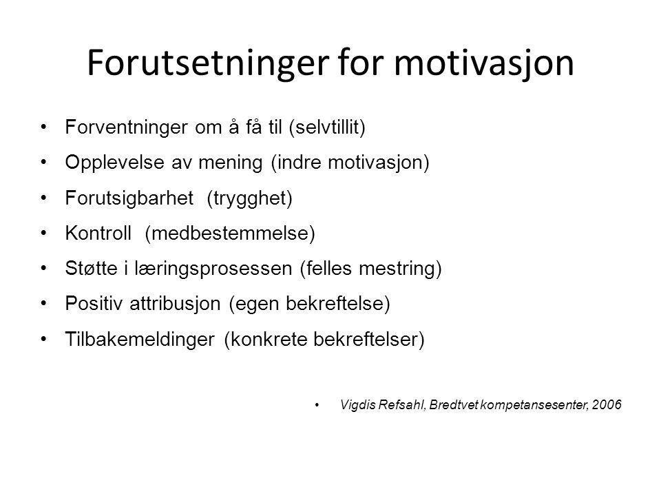 Forutsetninger for motivasjon •Forventninger om å få til (selvtillit) •Opplevelse av mening (indre motivasjon) •Forutsigbarhet (trygghet) •Kontroll (medbestemmelse) •Støtte i læringsprosessen (felles mestring) •Positiv attribusjon (egen bekreftelse) •Tilbakemeldinger (konkrete bekreftelser) •Vigdis Refsahl, Bredtvet kompetansesenter, 2006