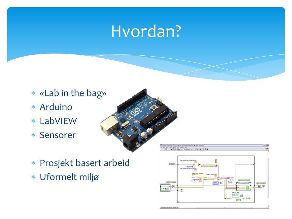  «Lab in the bag»  Arduino  LabVIEW  Sensorer  Prosjekt basert arbeid  Uformelt miljø Hvordan