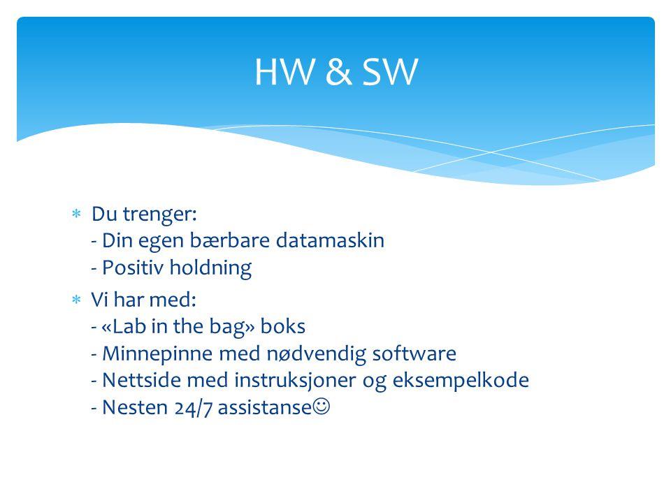  Du trenger: - Din egen bærbare datamaskin - Positiv holdning  Vi har med: - «Lab in the bag» boks - Minnepinne med nødvendig software - Nettside med instruksjoner og eksempelkode - Nesten 24/7 assistanse  HW & SW