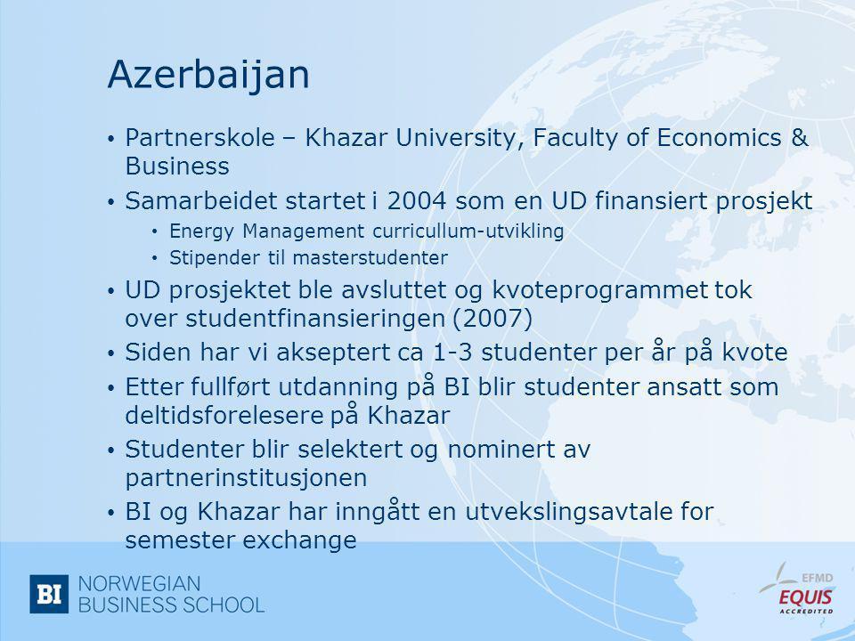 Russland • Tre partnerinstitusjoner • Moscow State University, Graduate School of Business Administration • Plekhanov Russian Academy of Economics • St.