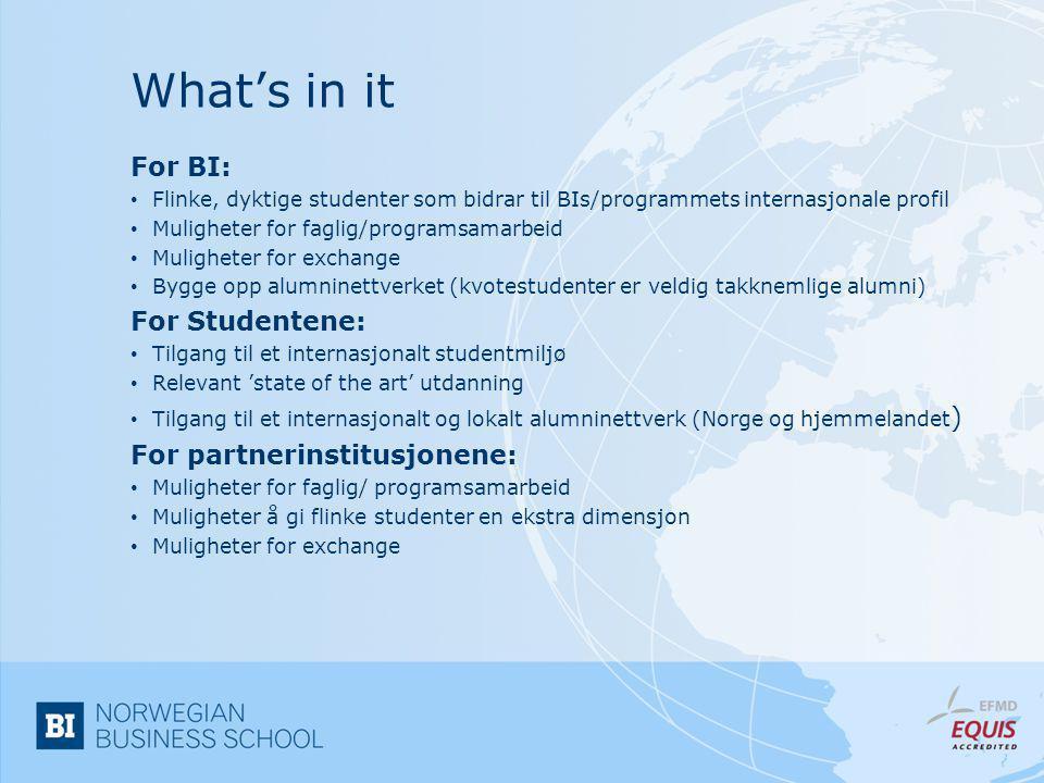 What's in it For BI: • Flinke, dyktige studenter som bidrar til BIs/programmets internasjonale profil • Muligheter for faglig/programsamarbeid • Mulig