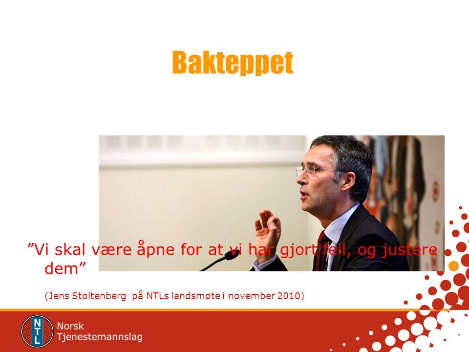 """Bakteppet """"Vi skal være åpne for at vi har gjort feil, og justere dem"""" (Jens Stoltenberg på NTLs landsmøte i november 2010)"""