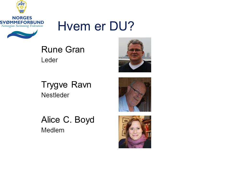 Hvem er DU Rune Gran Leder Trygve Ravn Nestleder Alice C. Boyd Medlem