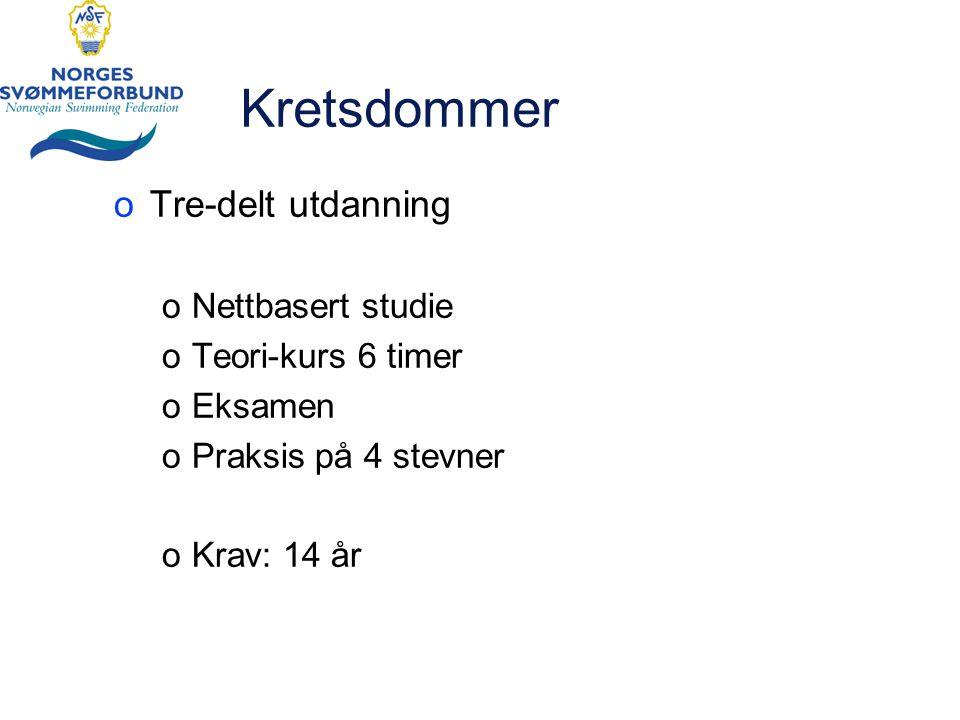 Forbundsdommerkurs o6 timer kurs oOppdatering av svømmereglene (kort) oCase-basert undervisning oI gruppe oPresenteres i plenum oIngen eksamen oKrav: 18 år + 2 år som kretsdommer